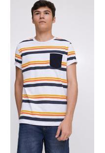 Camiseta Listrada Com Bolso