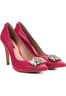 Scarpin Couro Jorge Bischoff Salto Alto Bico Fino Textura Pedraria - Feminino-Pink