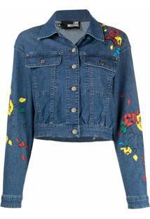 Love Moschino Jaqueta Jeans Com Estampa Floral - Azul