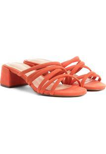 Sandália Shoestock Salto Grosso Tirinhas Color Feminina - Feminino-Laranja