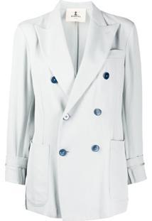 Barena Cropped Sleeve Double Buttoned Blazer - Azul
