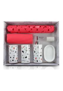 Kit De Banheiro Completo De 7 Peças Jacki Design Cozy Vermelho