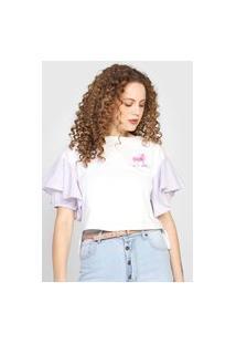 Camiseta Forum Babados Branca/Roxa