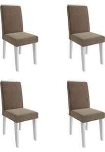 Conjunto Com 4 Cadeiras De Jantar Taís I Suede Branco E Pluma