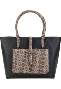 Bolsa Capodarte Tote Shopper Monograma Feminina - Feminino-Bege+Preto