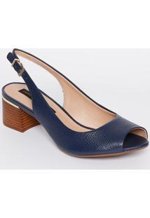 Peep Toe Chanel Em Couro - Azul Marinho - Salto: 5Cmjorge Bischoff