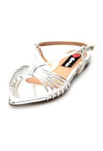Sandalia Love Shoes Salomé Rasteira Bico Folha Tirinhas Metalizadas Prata