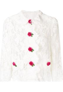 Dolce & Gabbana Jaqueta Cropped De Renda - Branco