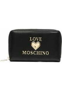 Love Moschino Carteira Com Logo E Zíper - Preto