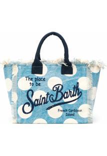 Mc2 Saint Barth Bolsa Tote Com Estampa De Poás - Azul