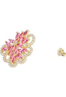 Brinco Fashionarium Flor Quartzo Rosa Cravejado De Micro Zircônias Luxo Folheado Ouro 18K