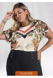 Blusa Plus Size Estampada Secret Glam Bege