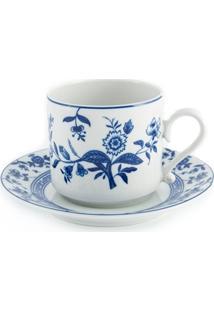 Jogo De Xícaras De Chá Com Pires Em Porcelana Flor De Cobalto 6 Peças