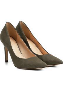 Scarpin Couro Shoestock Salto Alto Básico - Feminino-Verde Escuro