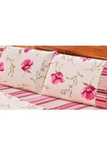 Jogo De Cama Casal Requinte 3 Peças 180 Fios Percal Bia Enxovais Floral Rose