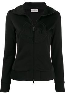 Moncler Zip-Up Logo Sweatshirt - Preto