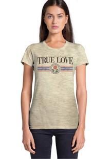 Camiseta Básica Joss True Love Bege