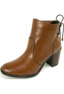 Bota Não Possui Cadarço Ankle Boot Dhatz Cano Curto Whisky