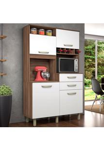 Cozinha Compacta Júnior 4 Pt 2 Gv Branca E Nogal