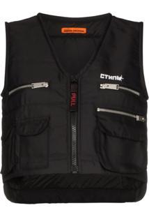 Heron Preston Multi-Pocket Zip-Up Vest - Preto
