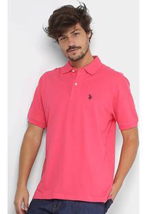 Camisa Polo U.S. Polo Assn Piquet Bordado Masculina - Masculino-Coral