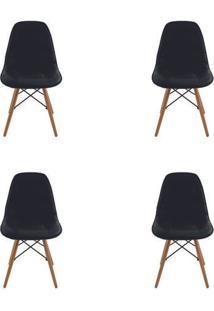 Kit 4 Peças Cadeira Eames Eiffel Rivatti Sem Braço Botonê Preta