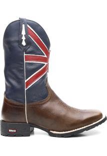 Bota Texana Azul Bandeira Da Inglaterra Com Marrom - Masculino-Azul+Vermelho