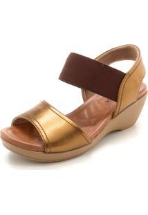 Sandália Usaflex Faixas Dourado