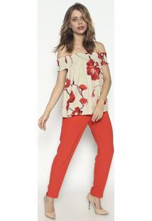 Blusa Ciganinha Com Elã¡Stico - Verde Claro & Vermelhalez A Lez