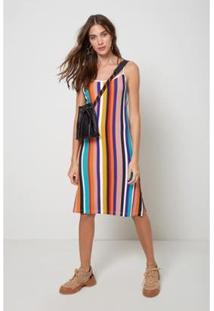 Vestido Midi Est Listra Jeju Color - Oh, Boy! - Feminino-Amarelo
