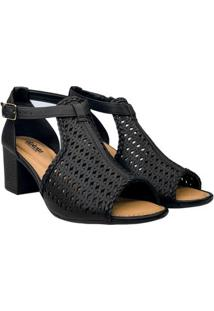 Sandália Dakota Corte Laser Salto Grosso Feminino - Feminino-Preto