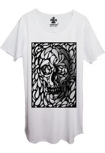 Camiseta Longline Estampada Corvuz Confusion Branca