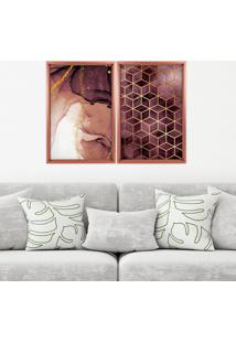 Quadro Love Decor Com Moldura Chanfrada Abstratos Rose Metalizado Médio