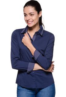 Camisa Intens Manga Longa Algodão Estampado Azul