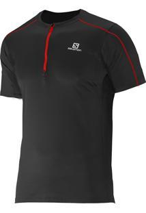 Camiseta Salomon Masculina Action 1/2 Ziper Preta Egg
