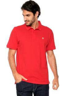 Camisa Polo Timberland Bordado Vermelha