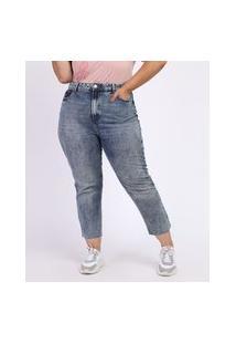 Calça Jeans Feminina Plus Size Reta Cigarrete Cintura Alta Azul Médio