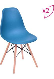 Jogo De Cadeiras Eames Dkr- Azul Petróleo & Madeira-Or Design