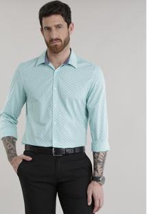 Camisa Slim Estampada Em Algodão + Sustentável Verde Claro