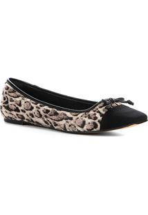 Sapatilha Couro Shoestock Animal Print Panther Feminina - Feminino-Cinza