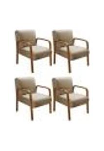 Kit 4 Cadeiras Anita Poltrona Decorativa Braço Madeira Para Escritório, Recepção, Sala De Estar Vários Ambientes - Linho Marrom