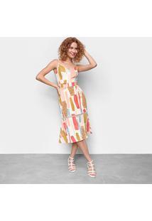 Vestido Influencer Midi Sino Estampado - Feminino