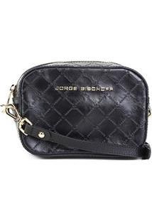 Bolsa Couro Jorge Bischoff Mini Bag Monograma Feminina - Feminino-Preto