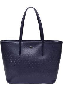 Bolsa Com Couro & Recortes Vazados- Azul Marinho- 29Lacoste