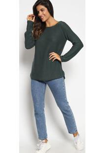 Blusa Em Tricã´ Com Fendas- Verde Escuroaleatory