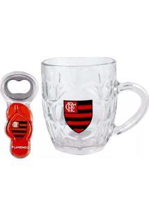 Caneca Flamengo De Vidro Com Abridor Chinelo - Unissex