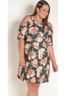 Vestido Floral Ciganinha Mangas 3/4 Plus Size