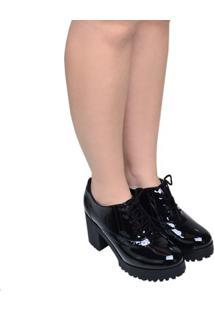 Sapato Feminino Solado Tratorado Bebecê Preto Verniz