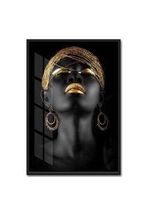 Quadro 60X40Cm Mulher Africana Dourada Moldura Preta Com Vidro