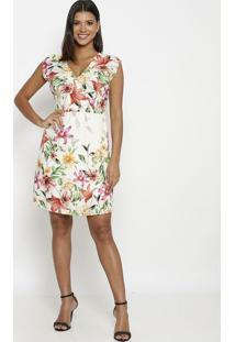 Vestido Com Amarração- Branco & Verdevip Reserva